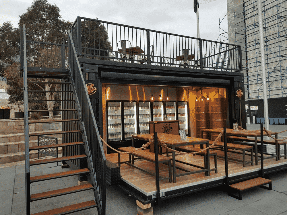 Restaurant built froma shipping container